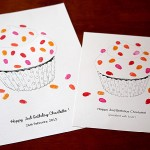 Cup cake sprinkles, fingerprint guest book for birthdays. Thumbprint guest book for birthdays.