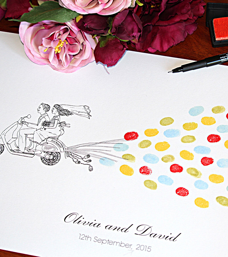 Fingerprint guest book just married. Retro style Vespa scooter wedding couple.