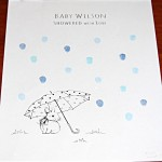 Baby shower guest book bunny with umbrella