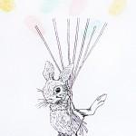 Bunny fingerprint guest book - births, birthdays-christenings-naming