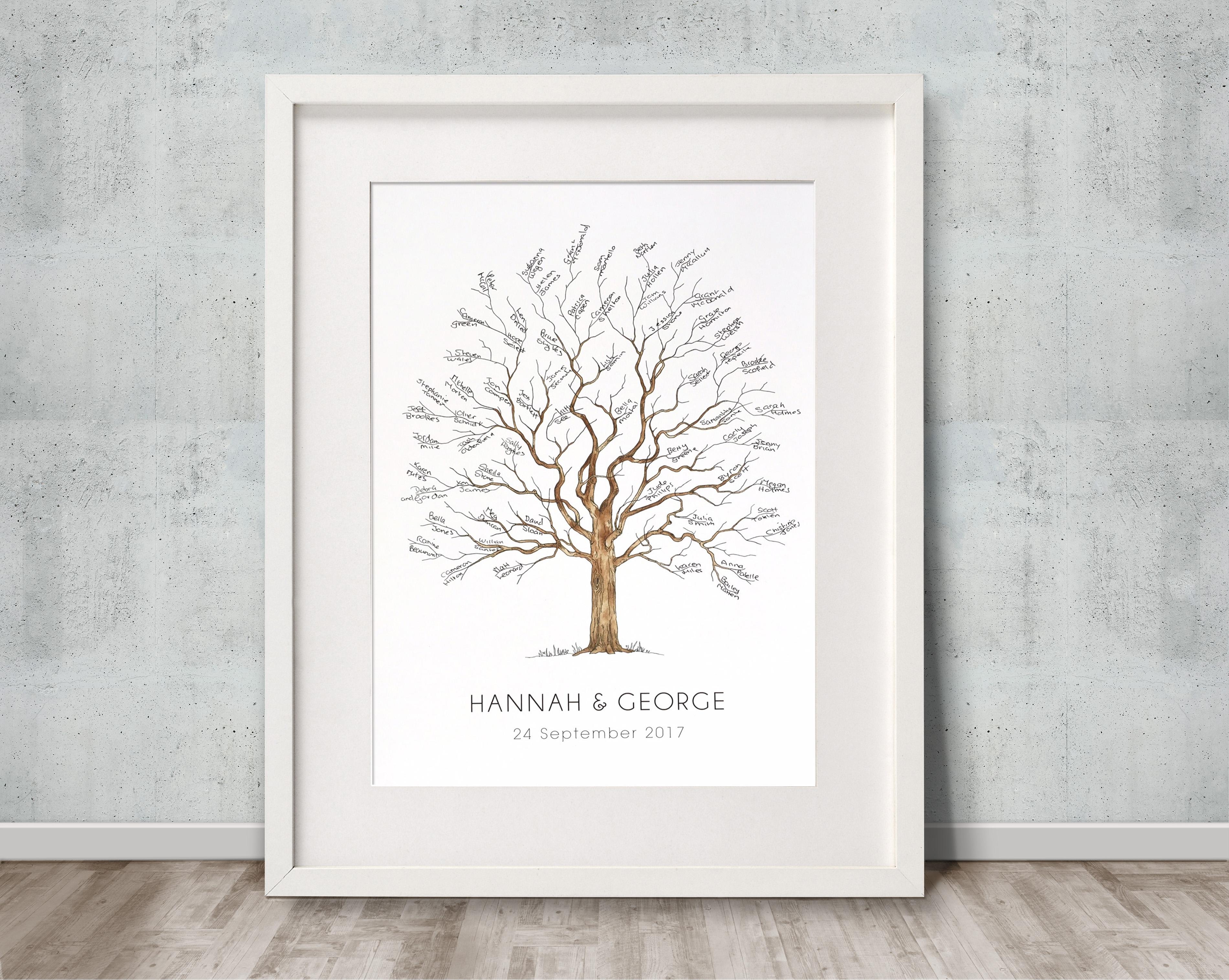 Fingerprint tree small for baby arrival, naming or christening