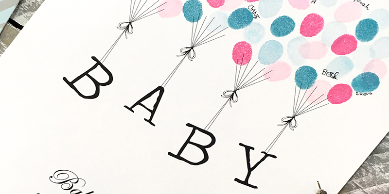 baby shower guet book floating letters