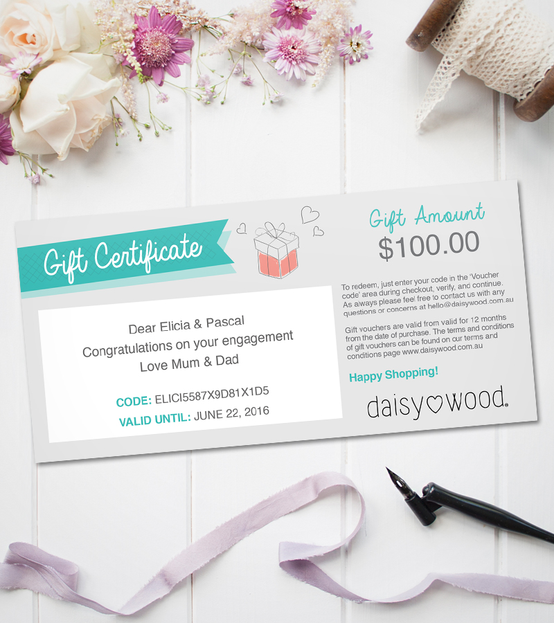 Daisywood gift certificate for personalised keepsakes