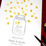 Mason jar and fireflies fingerprint guest book for weddings and engagements