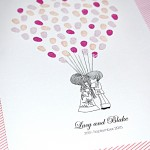 Fingerprint guest book. Retro style wedding or engagement couple.