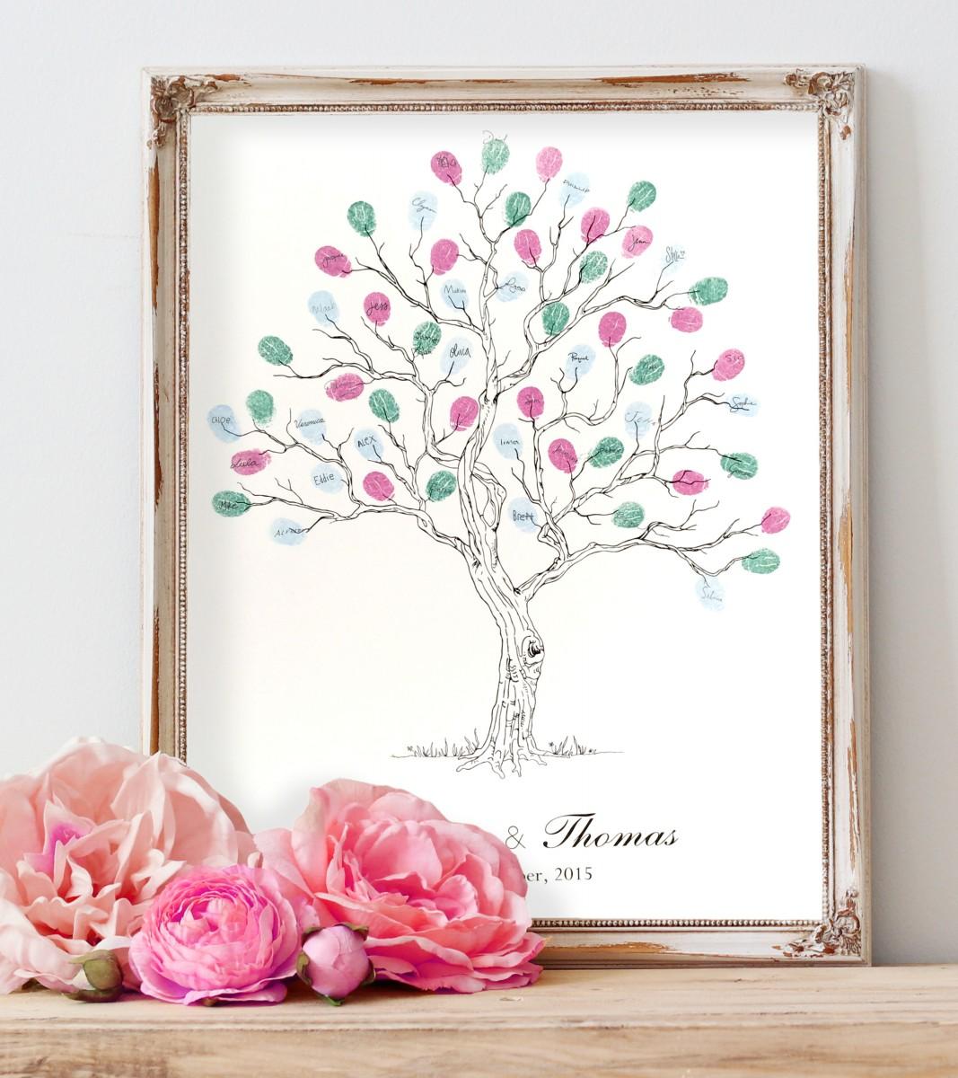 Wedding Tree Guest Book: Fingerprint Guest Book Tree