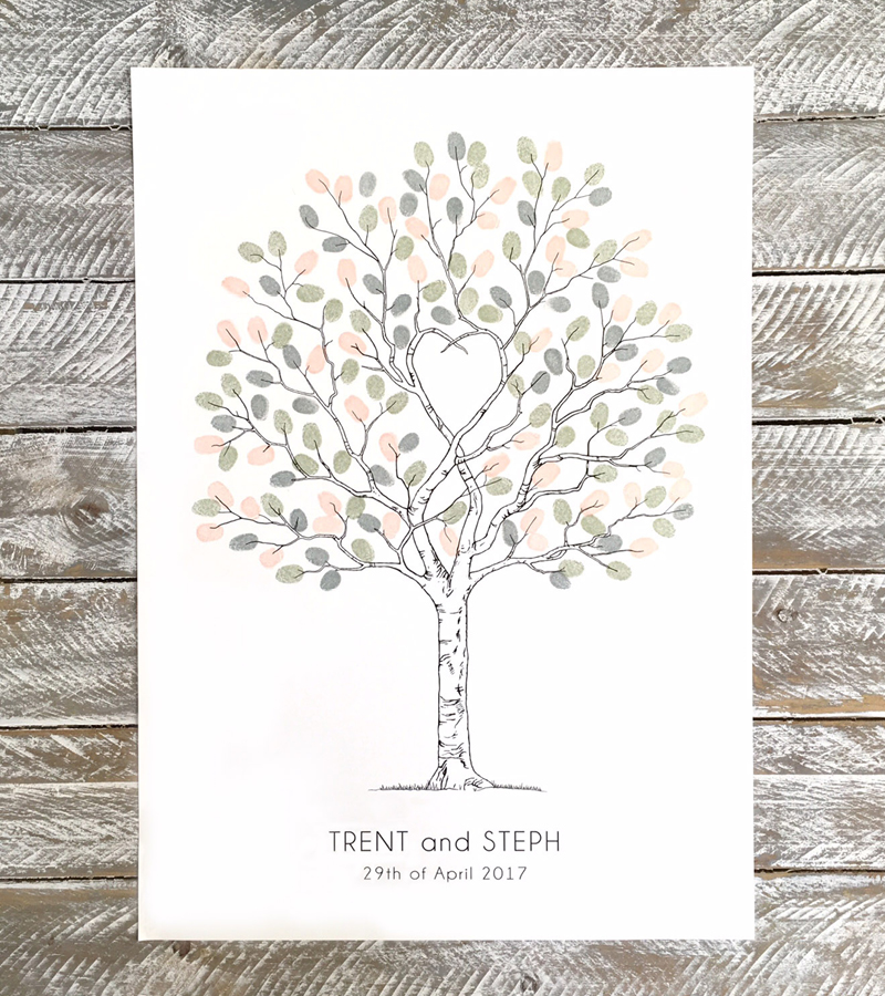 Unity Tree fingerprint guest book, Wedding tree, Alternative guest book