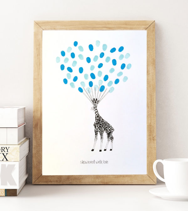 Giraffe fingerprint guest book for baby Showers, Baptism, Naming Day Ceremonies, Christenings and Birthdays