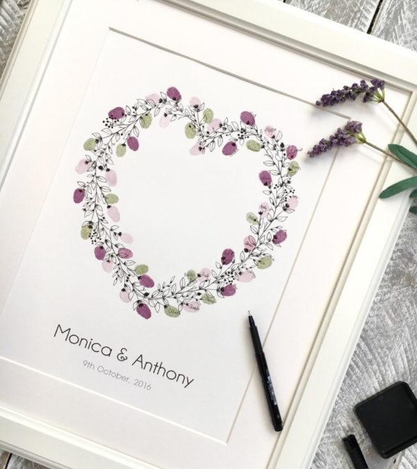 Heart wreath guest book. Wedding wreath fingerprint guest. thumbprint guest book, wreath heart shape for weddings