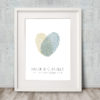 Fingerprint Heart Wedding Guest Book Green gray