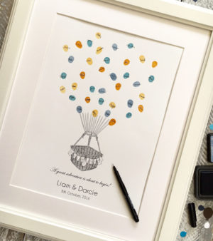 hot air balloon guest book fingerprint guest book thumbprint guest book