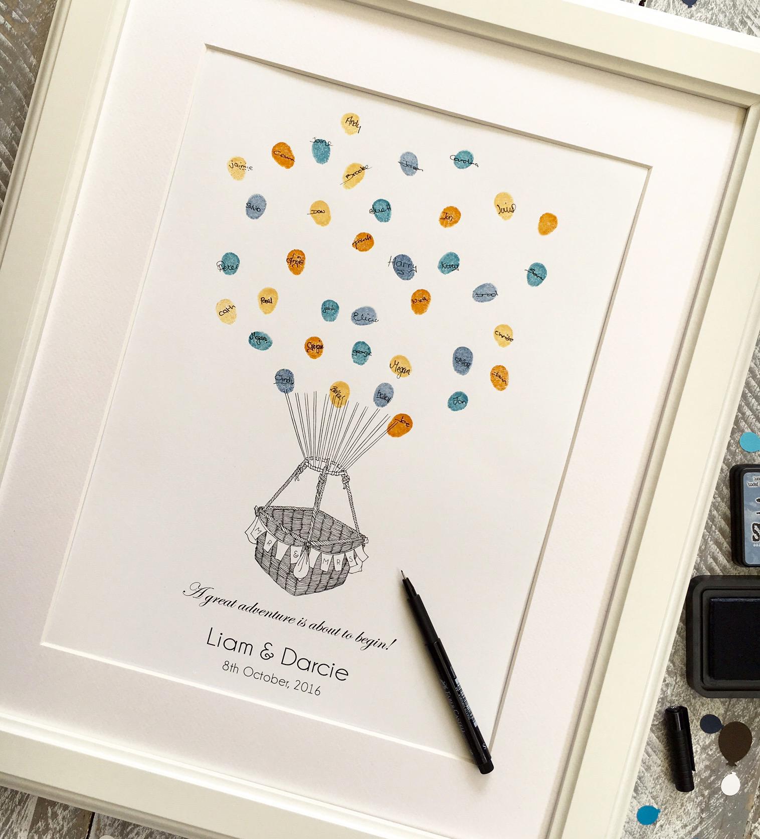 Fingerprint Guest Book Hot Air Balloon