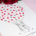 Fingerprint guest book. Retro style Meerkat wedding couple, Personalised guest book. Thumbprint wedding guest book. Cheeky & quirky, truly unique guest book. rock and roll, rockabilly style
