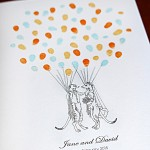 Fingerprint guest book. Meerkat wedding couple, Personalised guest book.