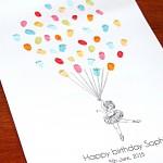 Ballerina girl fingerprint guest book for births, birthdays, christenings & naming ceremonies.