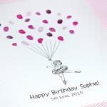 Little Ballerina girl fingerprint guest book for births, birthdays, christenings & naming ceremonies. .