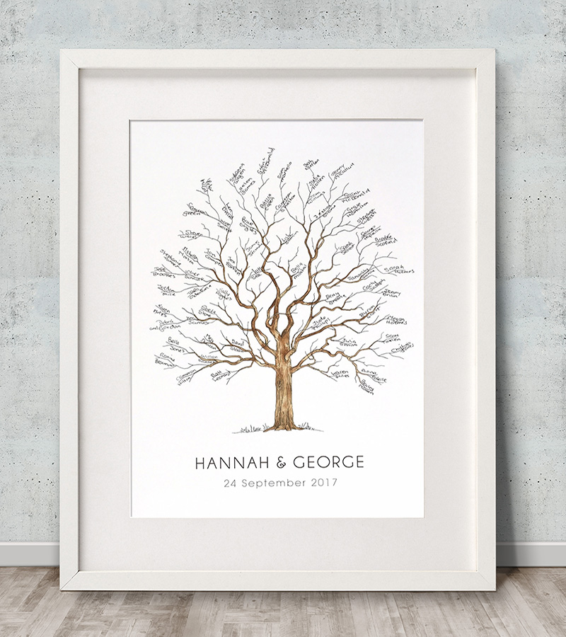 Fingerprint tree small for baby arrival, naming or christening