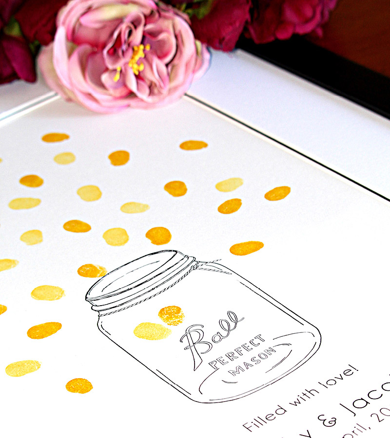 Mason jar and fireflies fingerprint guest book for weddings and engagements. Thumbprint guest book.