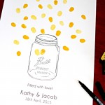 Mason jar and fireflies fingerprint guest book for weddings and engagements