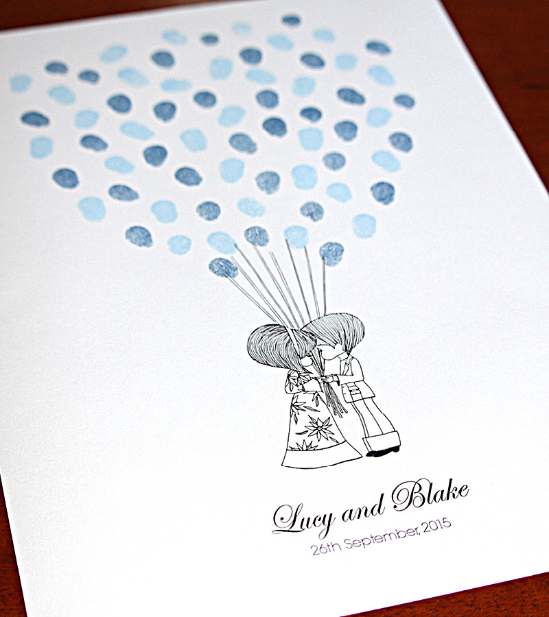 Fingerprint guest book wedding retro couple.
