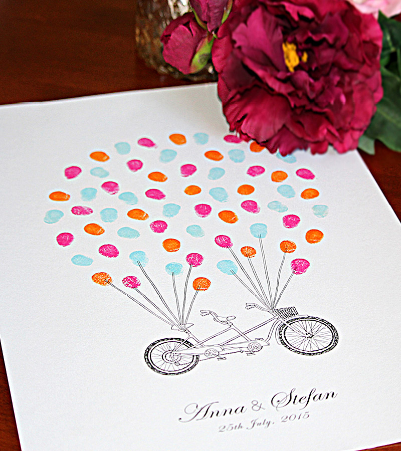 Fingerprint guest book tandem bike personalised, for weddings & engagements