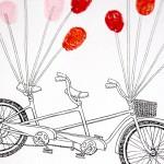Fingerprint guest book tandem bike personalised, for weddings & engagements