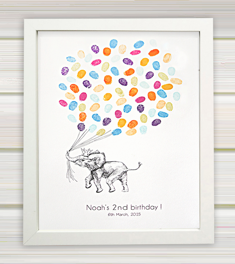 Elephant fingerprint guest book for birthdays, christenings and baby showers