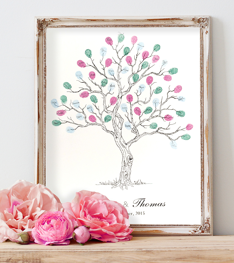 Guest book. Personalised fingerprint tree for weddings, anniversaries, birthdays, family occasions