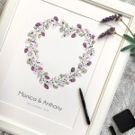 Heart wreath guest book. Wedding wreath fingerprint guest. thumbprint guest book wreath heart shape