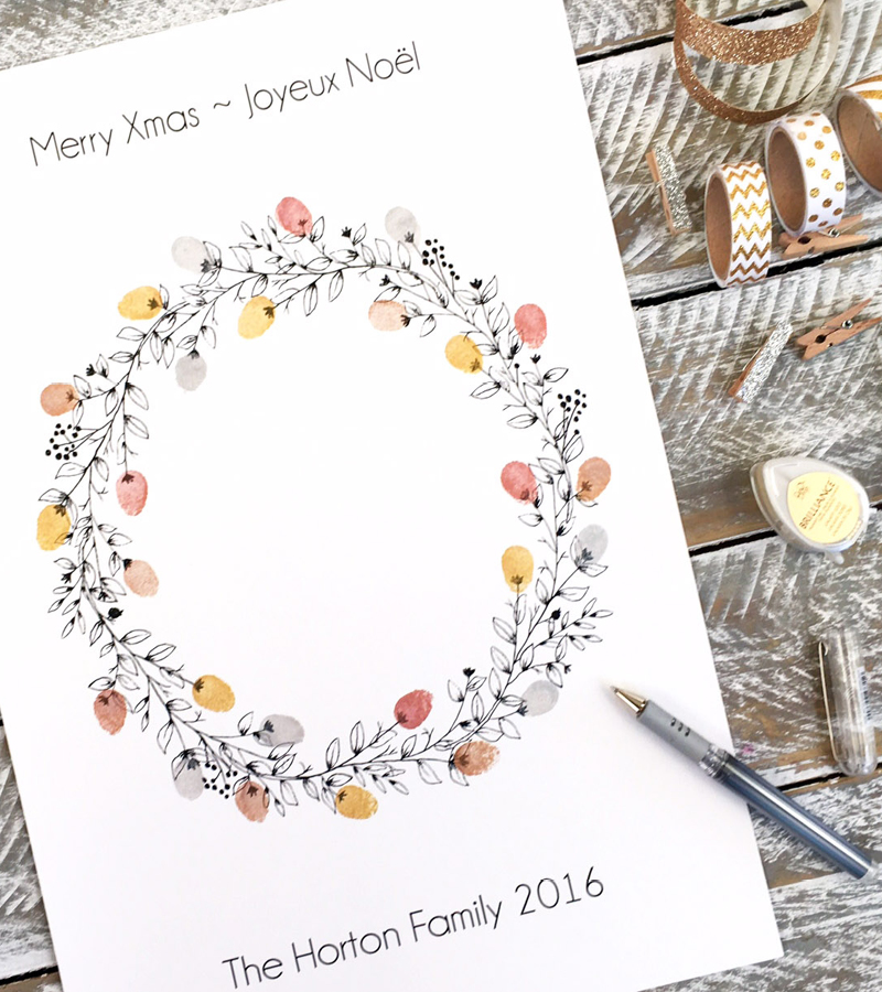 christmas Wreath FingerprintGuest book