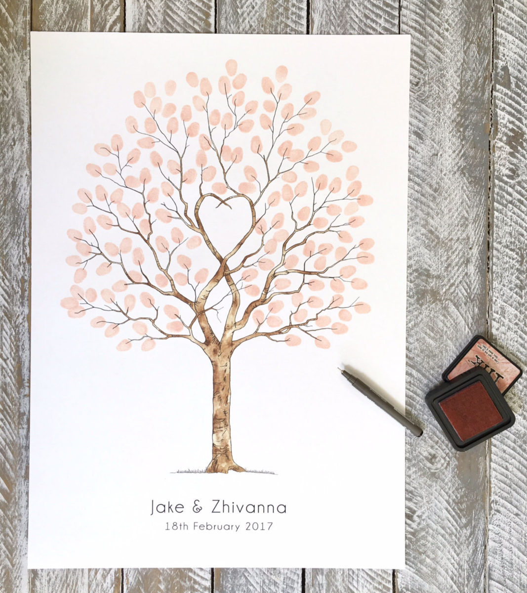 Guest Book Alternative Thumbprint Wedding Tree Fingerprint: Fingerprint Guest Book Tree
