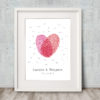Fingerprint Heart Wedding Guest Book 2 reds