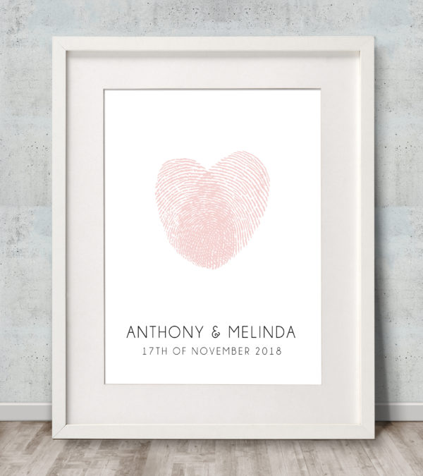Fingerprint Heart Wedding Guest Book Pink Mono