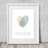 Fingerprint Heart Wedding Guest Book Green gray